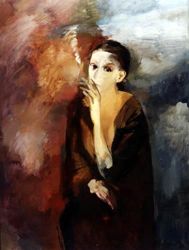 А. Мелдере. Портрет женщины. 1979. Холст, масло.