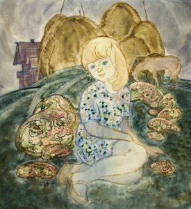 Семяшкин А.В. (1925 – 1998) У околицы. 1969 Бумага, акварель