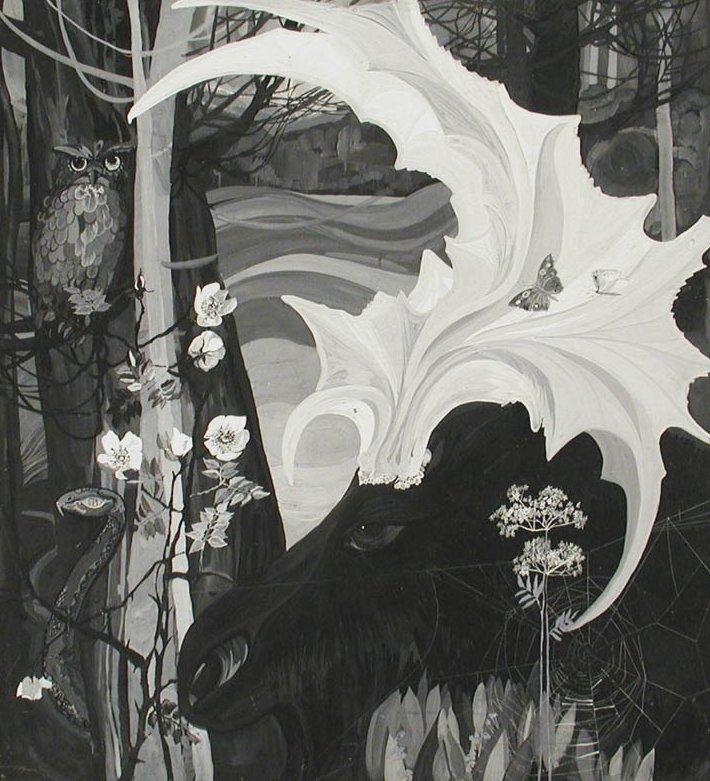 Пейзаж с лосем. 1967г.