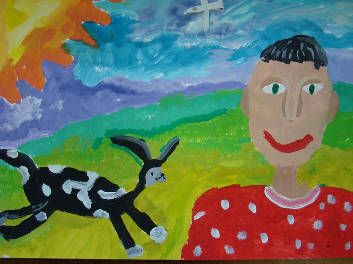 3 место Мелехин Артур. 7 лет. На лугу с верным другом