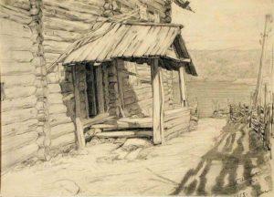 Черных И.В. Крылечко. 1955 Бумага, карандаш.