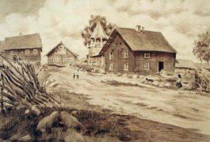 Черных И.В. Деревня Гомсельга. 1951 Бумага, сепия.