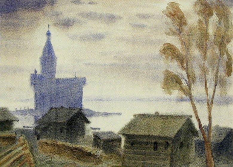 Жаренков Г.В. Деревня Кондопога. 1987 Бумага, акварель