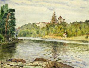 Жаренков Г.В. Валаам. Монастырская бухта. 1986 Бумага, акварель.