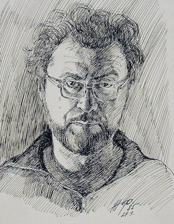 Жаренков Г.В. Автопортрет. 1985 Бумага, тушь, перо.