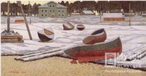 Лодки на берегу, 1969. Плита твердая, темпера.