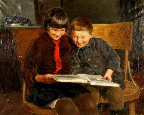 Лобанов А.В. За книгой. 1936, холст, масло