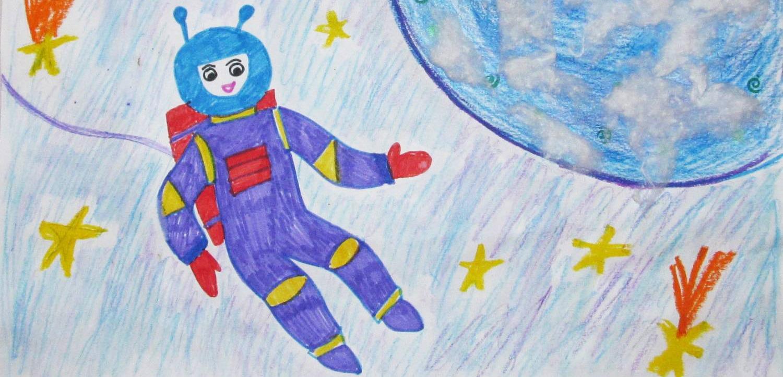Детские рисунки космонавты