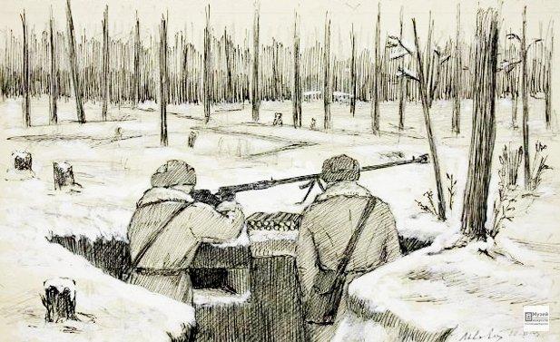 Львович З.Е. Траншея в лесу. Рисунок для газеты 'Во славу Родины'