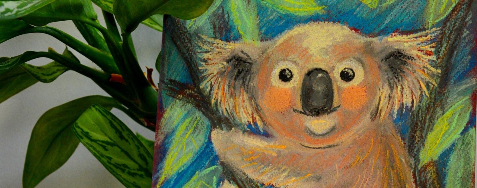 коала, пастель, рисунок