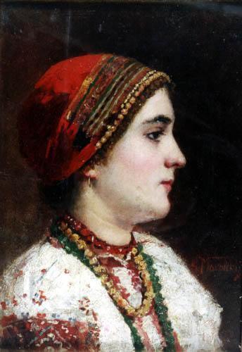 маковский, портрет девушки в украинском костюме