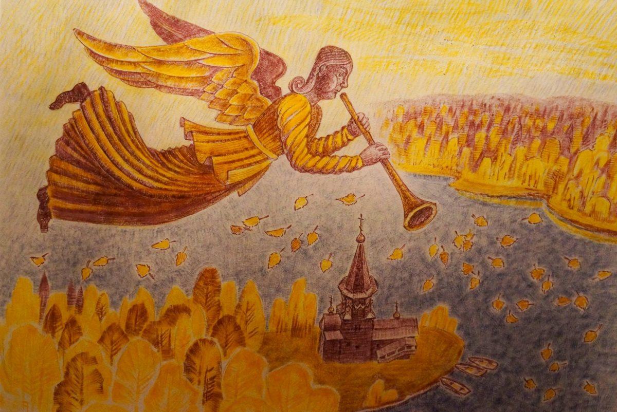 нелли григорьева, художники карелии, успенская церковь, кондопога, ангел