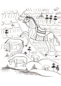 раскраска лошадь, читаем северные письма