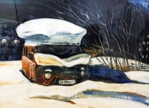 Мария Михайленко, мурманск, буханка, атвобус, снег, гравюра