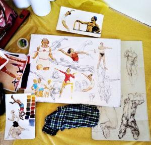 надежда белая, монументальная живопись, эскиз, спорт, тело