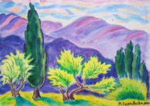 маргарита пермякова, горы, акварель, крым, дерево,
