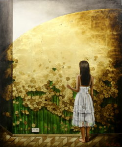 Золотые цветы, поталь, платье, девушка, романтика, анна красная