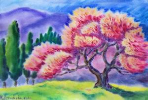 маргарита пермякова, горы, акварель, крым, дерево, цветок, цветение