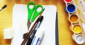 изокрошки, мастер-класс, краски, бумага, ножницы, горизонт
