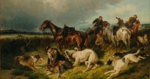 сверчков, русское искусство, охота на волка, горизонт