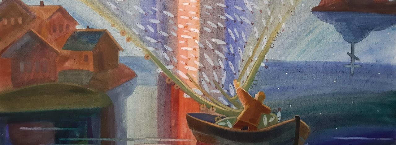 коросова горизонт рыбак невод рыба рыбалка