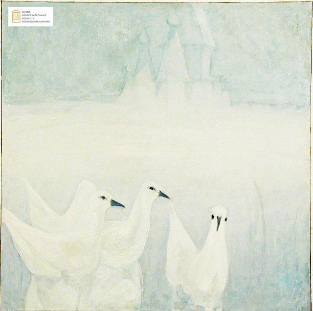 На фоне светло-голубого льда с торосами и безоблачного голубого неба, изображены белые птицы с черными клювами и глазами. На заднем плане угадываются очертания Собора Успения Пресвятой Богородицы, который появился в Кеми в начале 18 века
