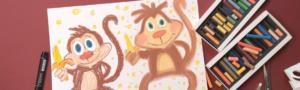 обезьянки пастель горизонт
